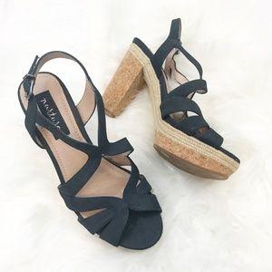 Nurture Navy Strappy Sandals, Cork Block Heel NWT